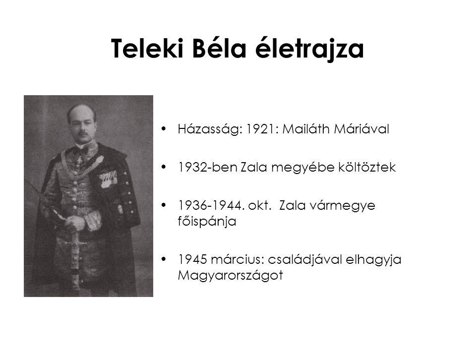 Teleki Béla életrajza Házasság: 1921: Mailáth Máriával