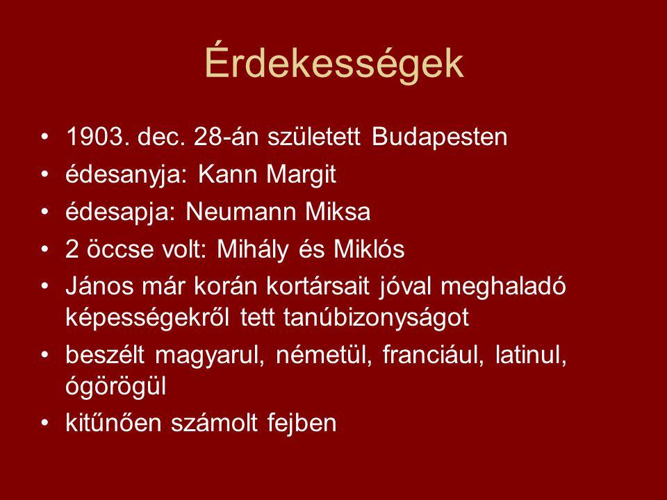 Érdekességek 1903. dec. 28-án született Budapesten