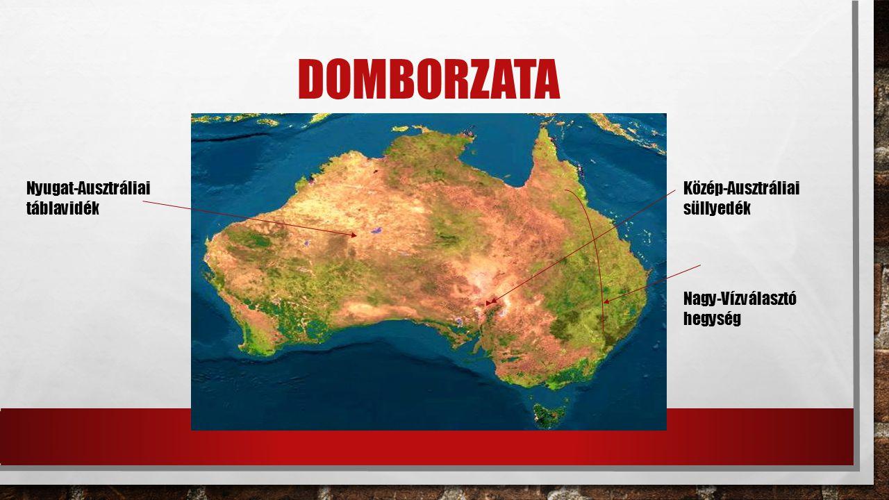 domborzata Nyugat-Ausztráliai táblavidék Közép-Ausztráliai süllyedék