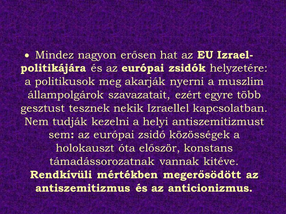 Mindez nagyon erősen hat az EU Izrael-politikájára és az európai zsidók helyzetére: a politikusok meg akarják nyerni a muszlim állampolgárok szavazatait, ezért egyre több gesztust tesznek nekik Izraellel kapcsolatban.