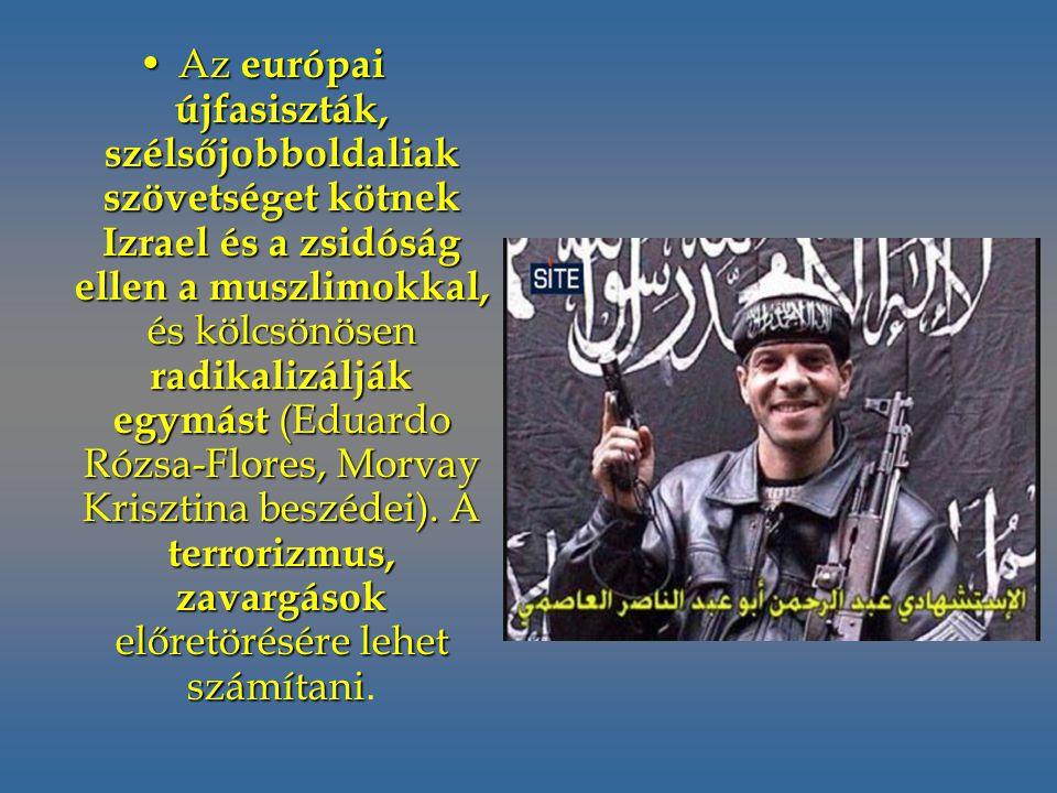 Az európai újfasiszták, szélsőjobboldaliak szövetséget kötnek Izrael és a zsidóság ellen a muszlimokkal, és kölcsönösen radikalizálják egymást (Eduardo Rózsa-Flores, Morvay Krisztina beszédei).