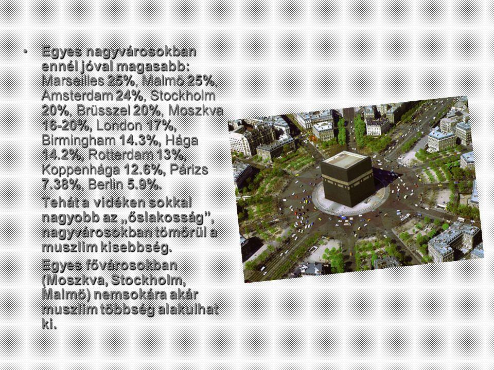 Egyes nagyvárosokban ennél jóval magasabb: Marseilles 25%, Malmö 25%, Amsterdam 24%, Stockholm 20%, Brüsszel 20%, Moszkva 16-20%, London 17%, Birmingham 14.3%, Hága 14.2%, Rotterdam 13%, Koppenhága 12.6%, Párizs 7.38%, Berlin 5.9%.