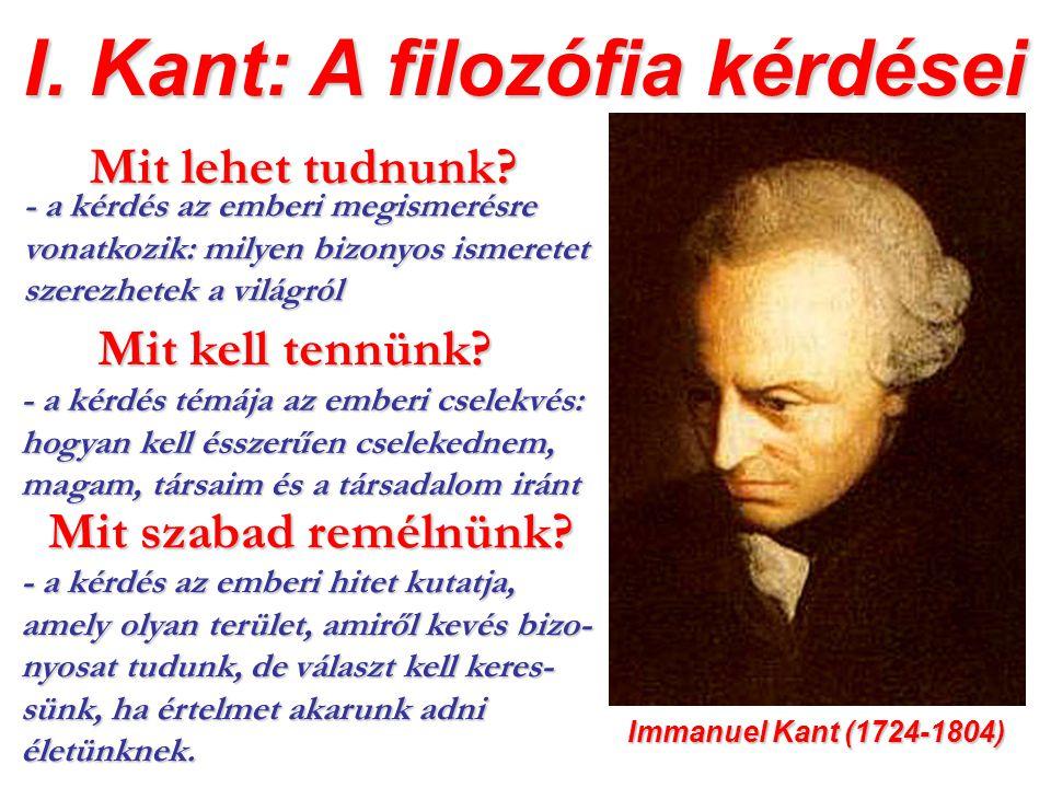 I. Kant: A filozófia kérdései