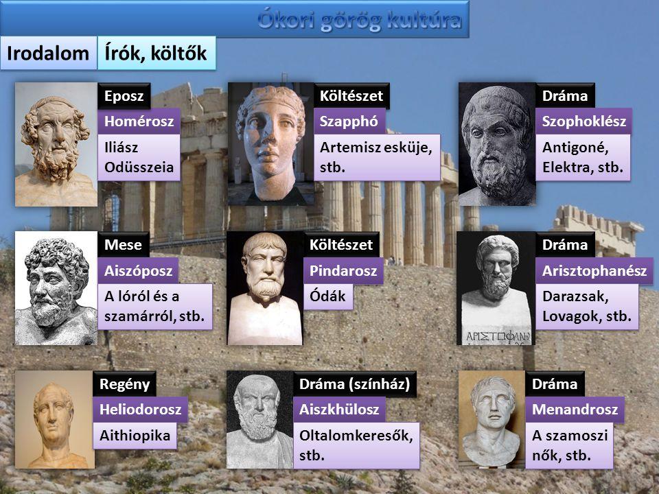 Ókori görög kultúra Irodalom Írók, költők Eposz Költészet Dráma