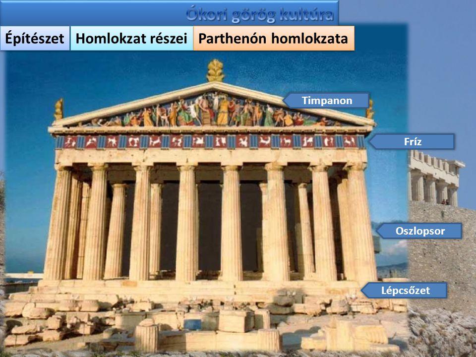 Ókori görög kultúra Építészet Homlokzat részei Parthenón homlokzata
