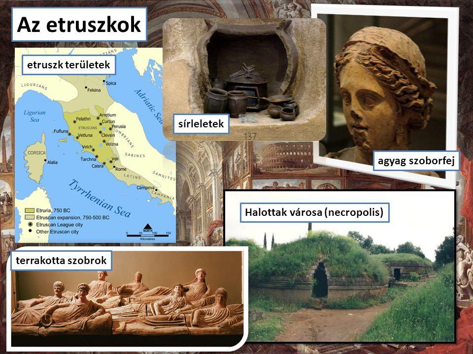 Az etruszkok etruszk területek sírleletek agyag szoborfej