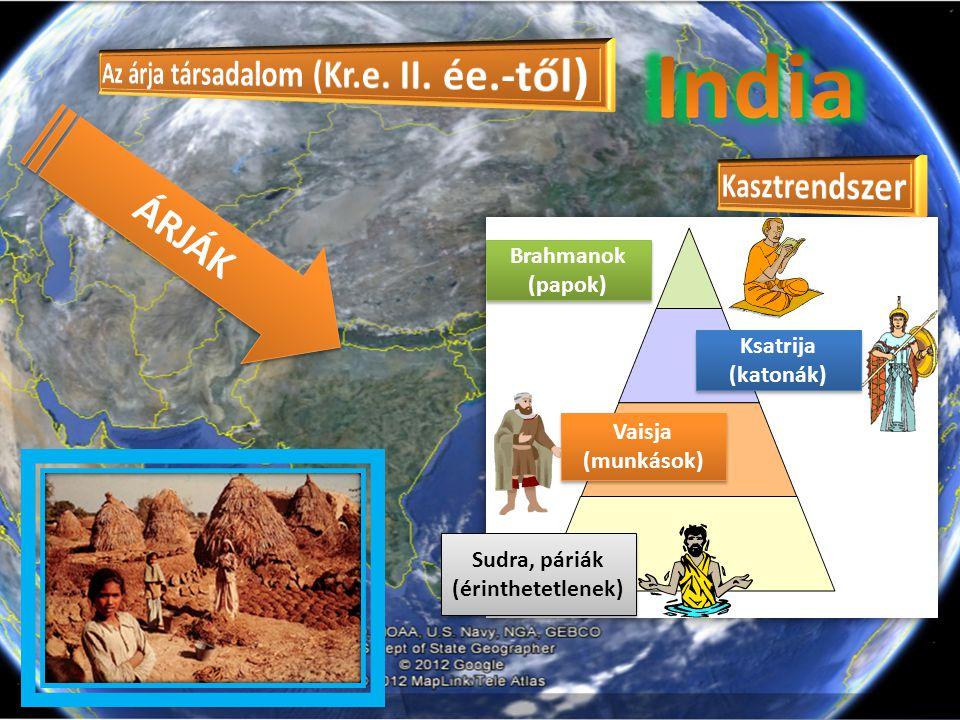 India ÁRJÁK Az árja társadalom (Kr.e. II. ée.-től) Kasztrendszer