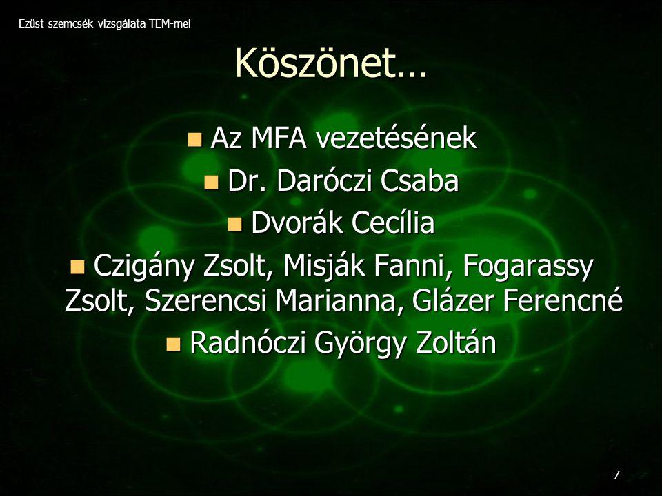 Köszönet… Az MFA vezetésének Dr. Daróczi Csaba Dvorák Cecília