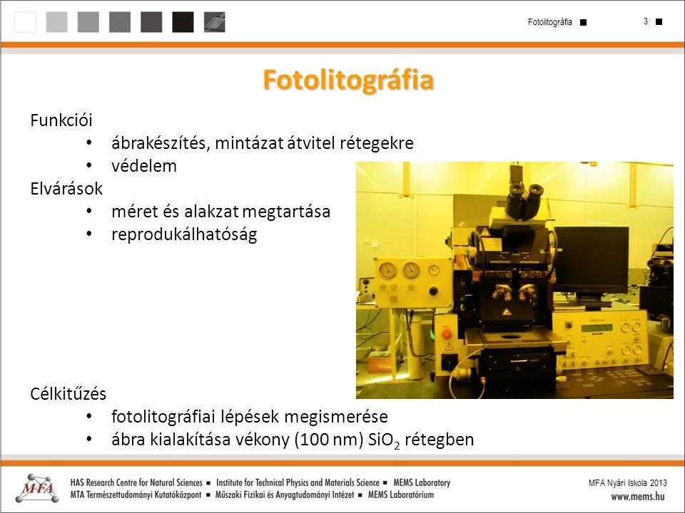 Fotolitográfia Funkciói ábrakészítés, mintázat átvitel rétegekre