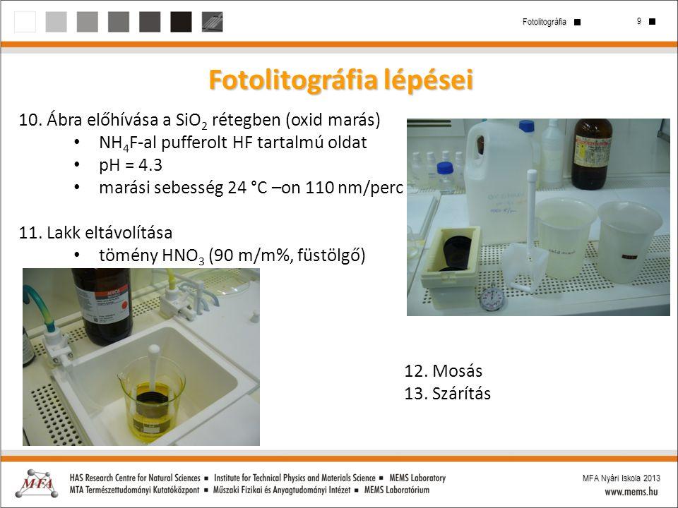 Fotolitográfia lépései