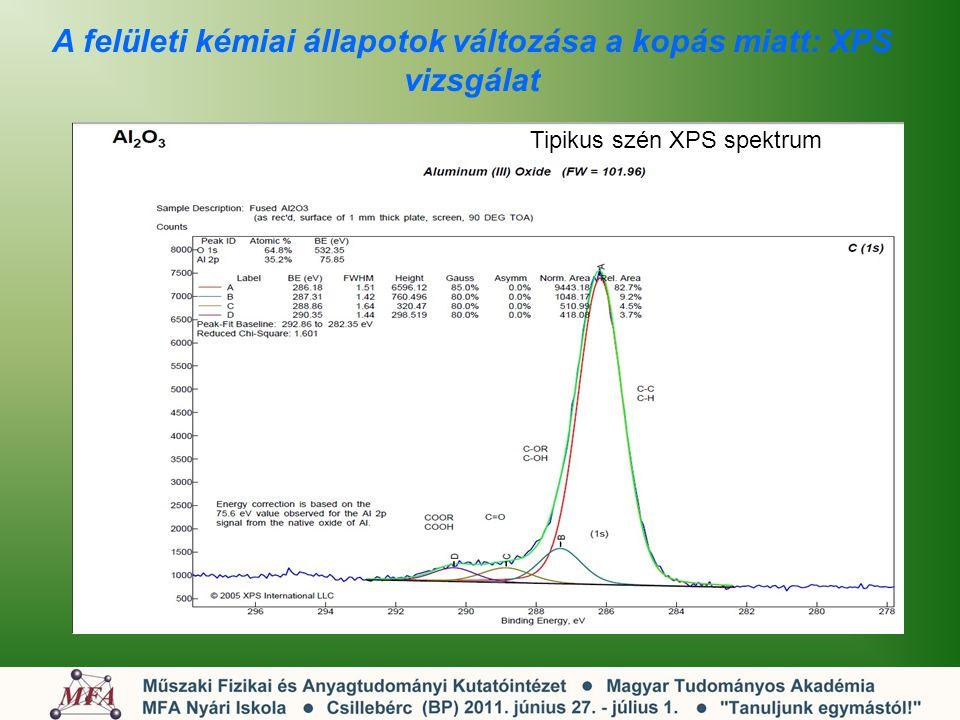 A felületi kémiai állapotok változása a kopás miatt: XPS vizsgálat