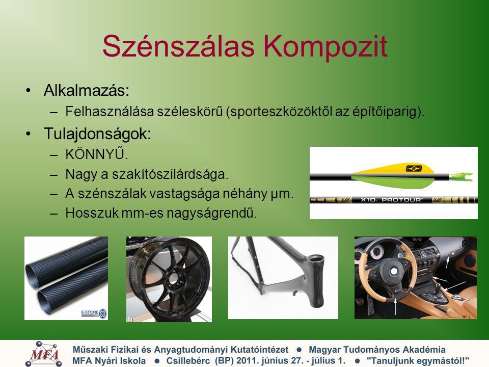 Szénszálas Kompozit Alkalmazás: Tulajdonságok: