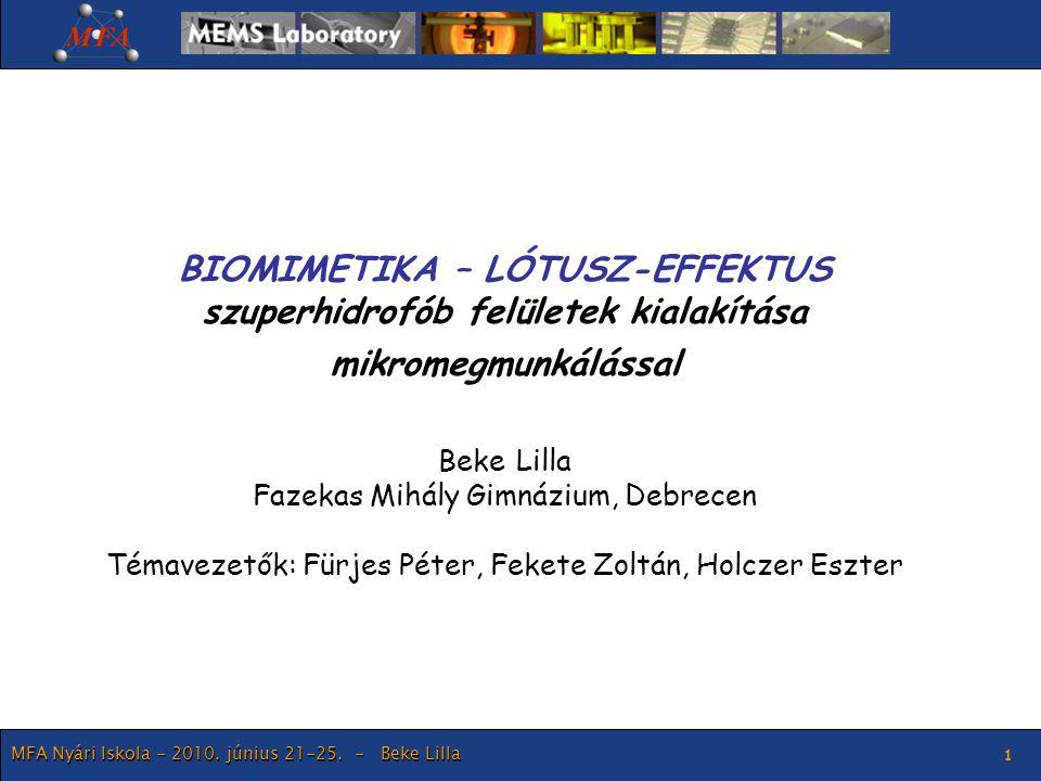 BIOMIMETIKA – LÓTUSZ-EFFEKTUS