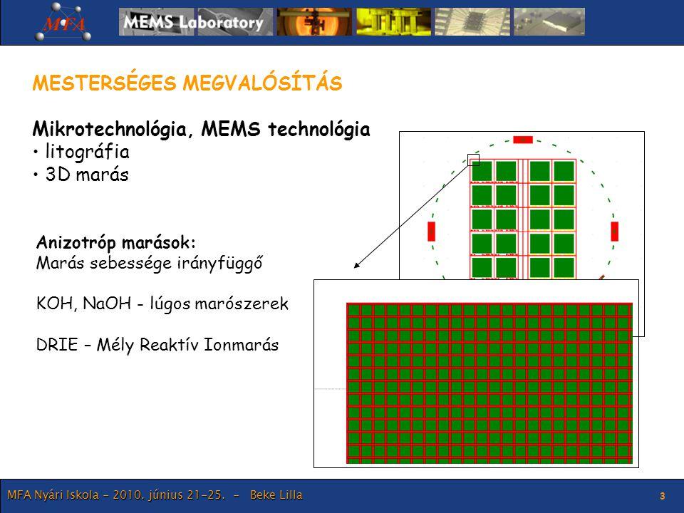 MESTERSÉGES MEGVALÓSÍTÁS Mikrotechnológia, MEMS technológia litográfia