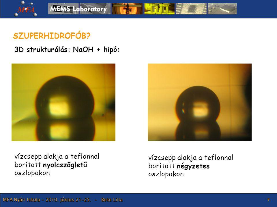 SZUPERHIDROFÓB 3D strukturálás: NaOH + hipó: