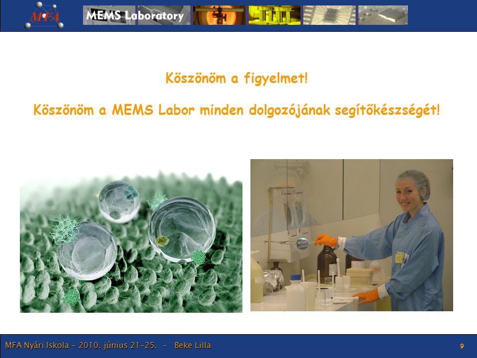 Köszönöm a MEMS Labor minden dolgozójának segítőkészségét!
