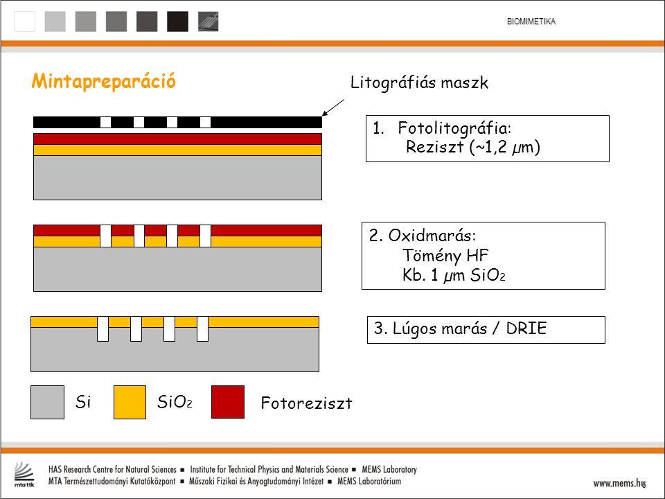 Mintapreparáció Litográfiás maszk Fotolitográfia: Reziszt (~1,2 µm)