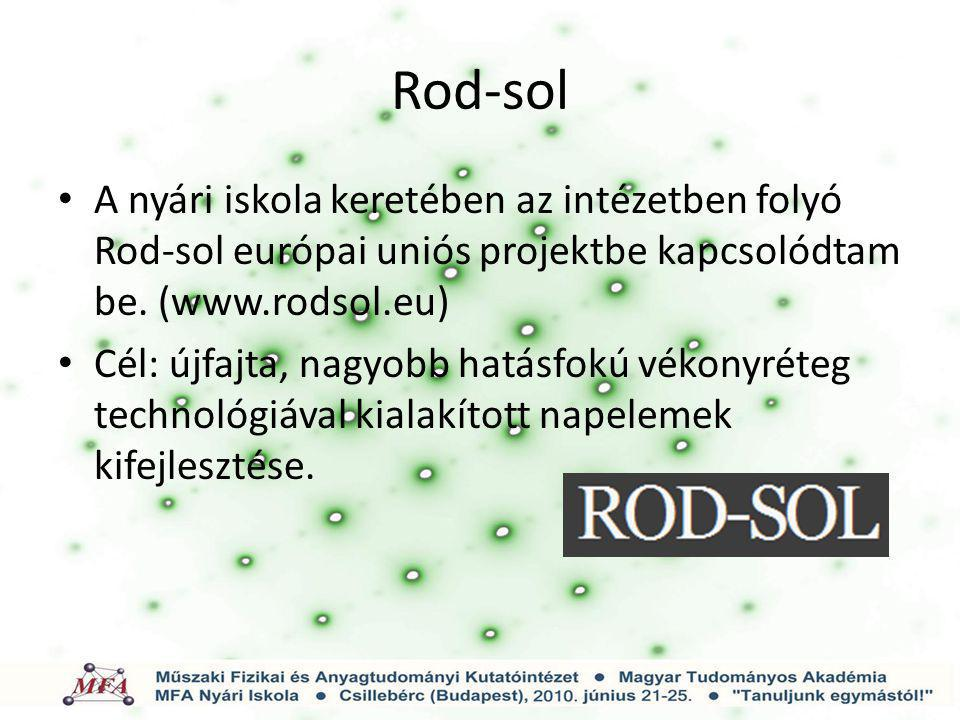 Rod-sol A nyári iskola keretében az intézetben folyó Rod-sol európai uniós projektbe kapcsolódtam be. (www.rodsol.eu)