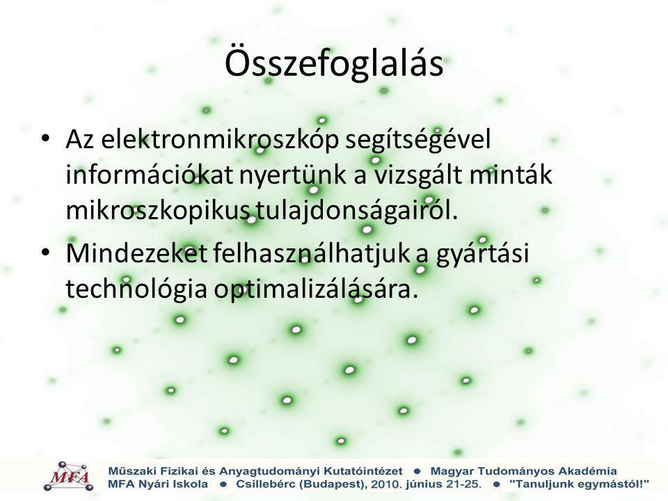 Összefoglalás Az elektronmikroszkóp segítségével információkat nyertünk a vizsgált minták mikroszkopikus tulajdonságairól.