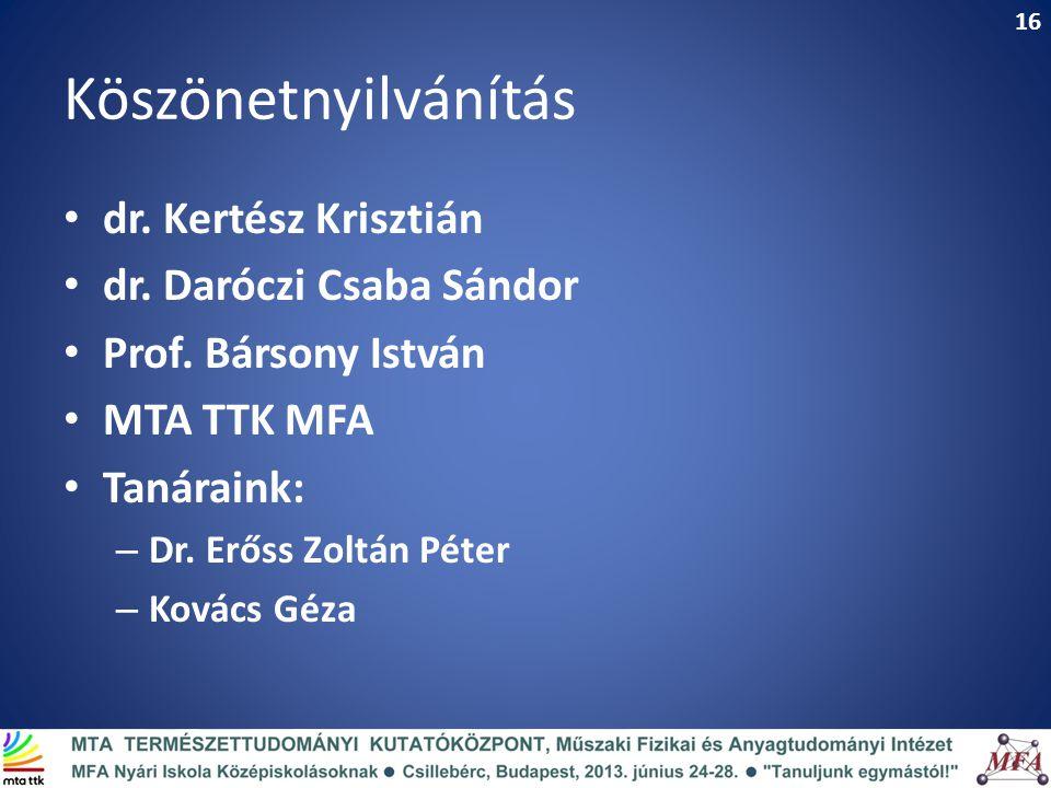 Köszönetnyilvánítás dr. Kertész Krisztián dr. Daróczi Csaba Sándor