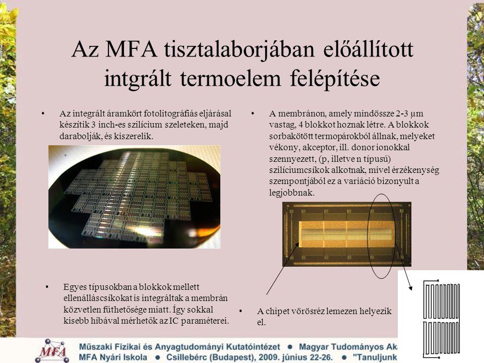 Az MFA tisztalaborjában előállított intgrált termoelem felépítése