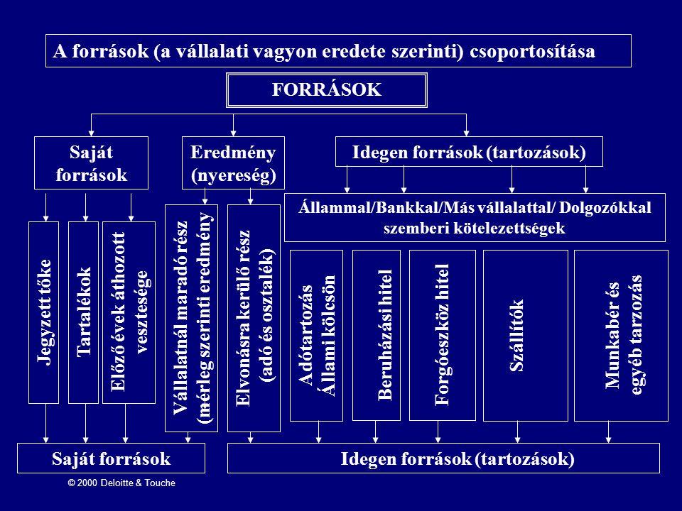 A források (a vállalati vagyon eredete szerinti) csoportosítása