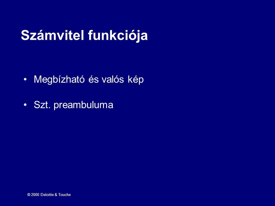 Számvitel funkciója Megbízható és valós kép Szt. preambuluma