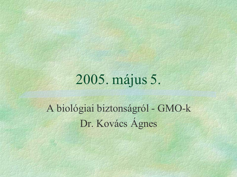 A biológiai biztonságról - GMO-k Dr. Kovács Ágnes