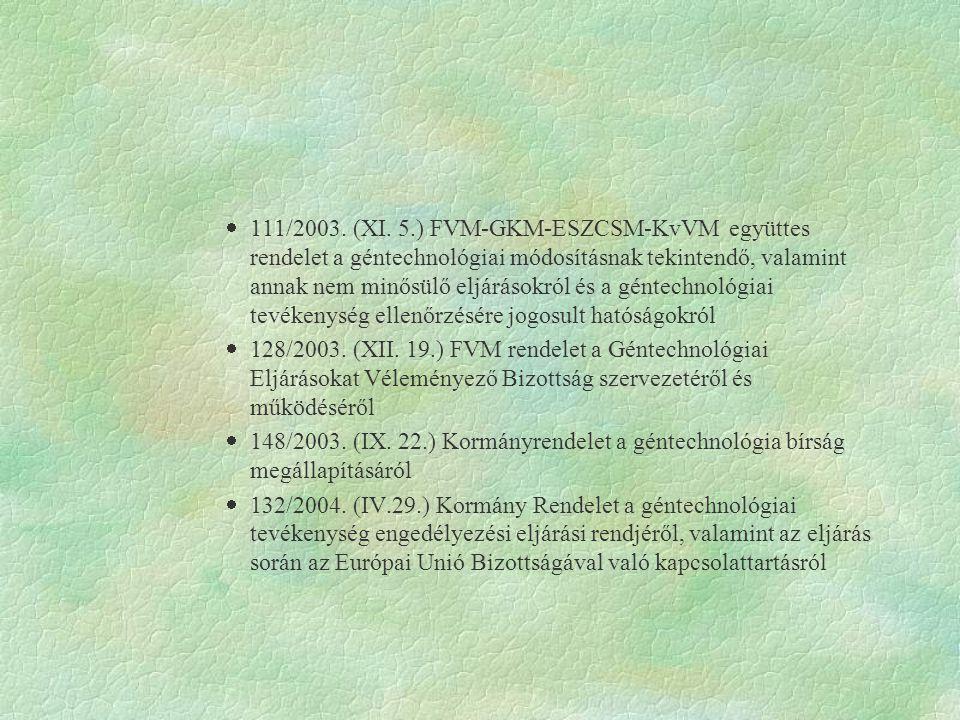 111/2003. (XI. 5.) FVM-GKM-ESZCSM-KvVM együttes rendelet a géntechnológiai módosításnak tekintendő, valamint annak nem minősülő eljárásokról és a géntechnológiai tevékenység ellenőrzésére jogosult hatóságokról