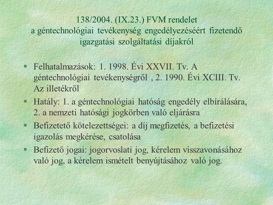 138/2004. (IX.23.) FVM rendelet a géntechnológiai tevékenység engedélyezéséért fizetendő igazgatási szolgáltatási díjakról