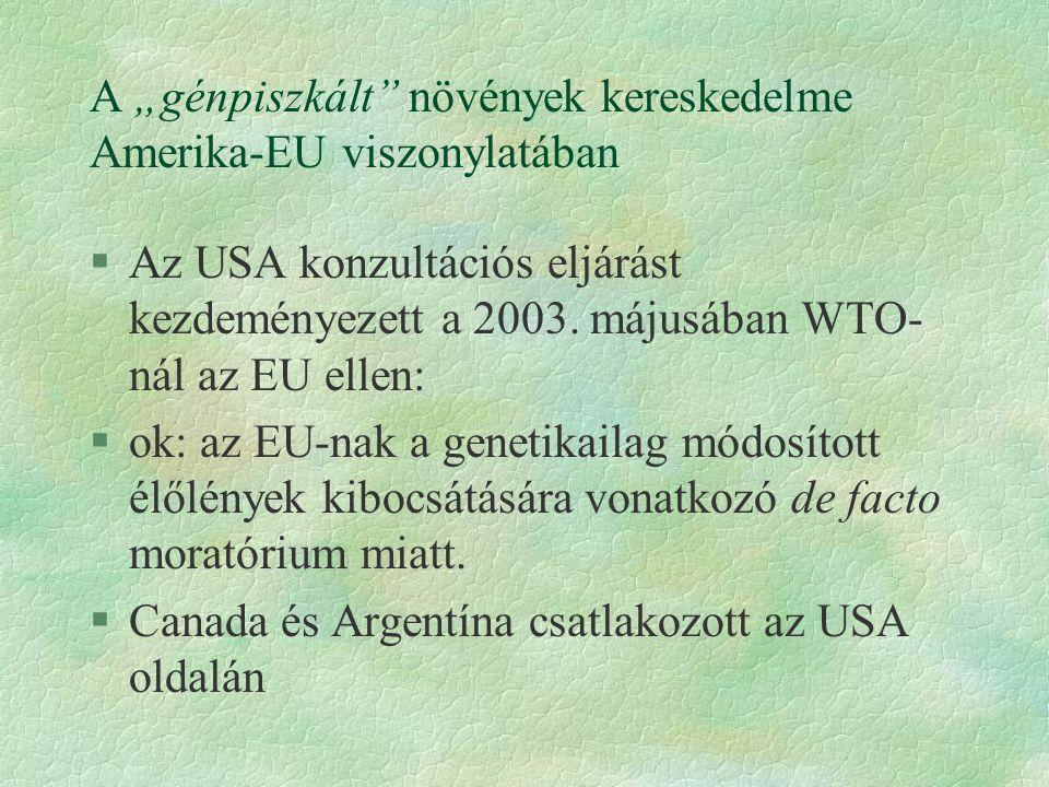 """A """"génpiszkált növények kereskedelme Amerika-EU viszonylatában"""