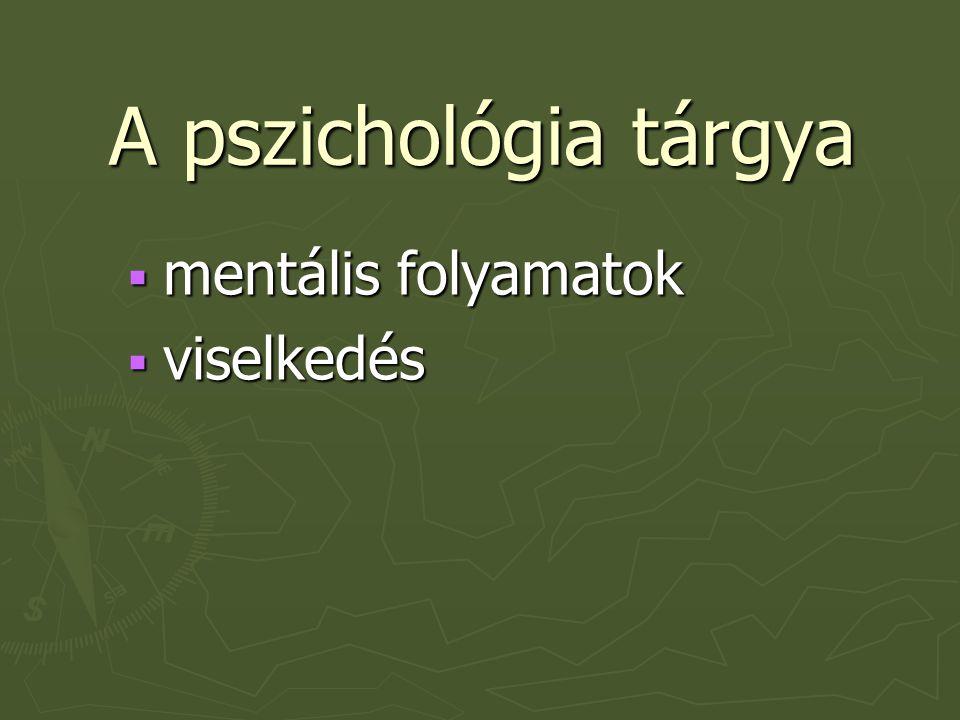 A pszichológia tárgya mentális folyamatok viselkedés