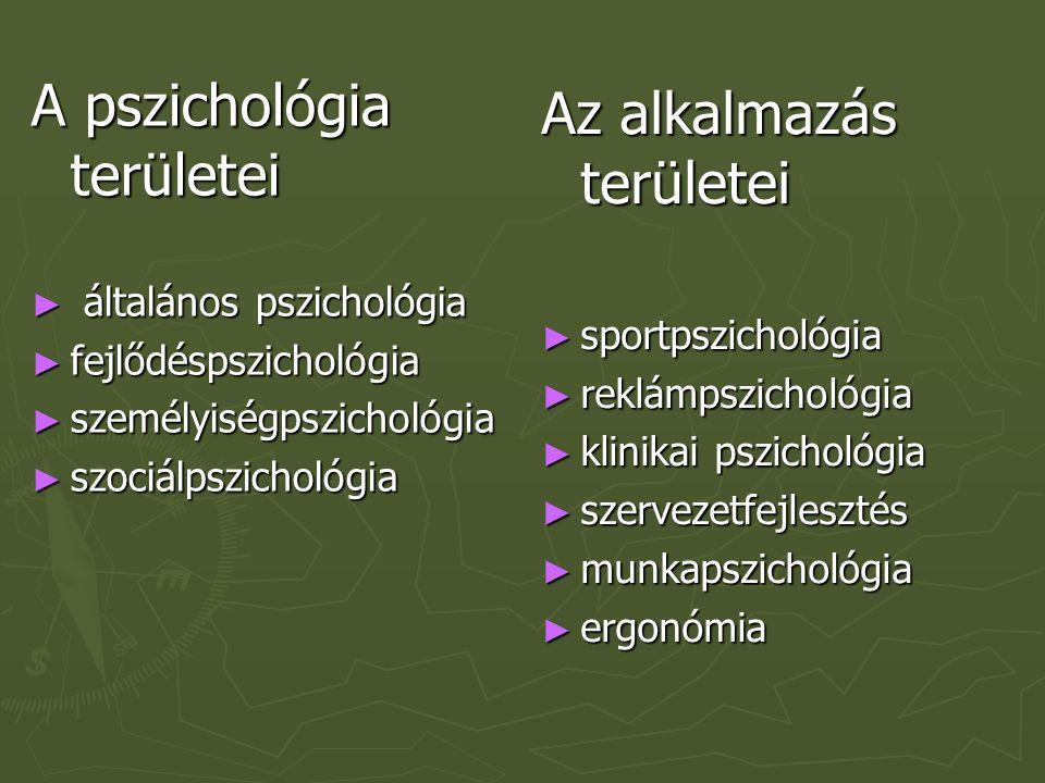 A pszichológia területei Az alkalmazás területei