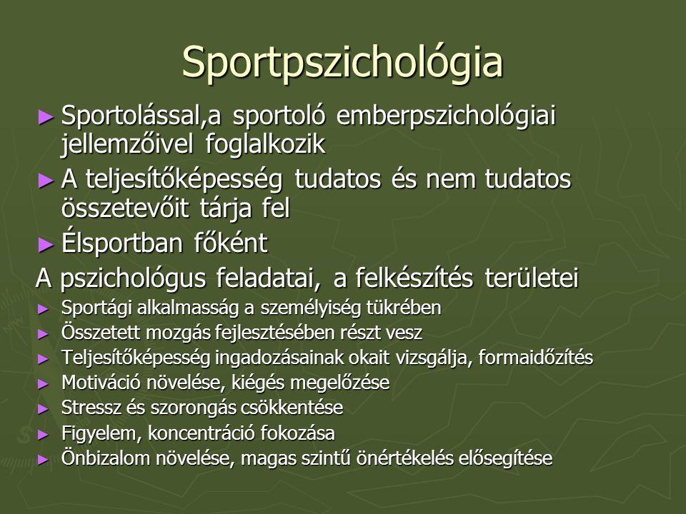 Sportpszichológia Sportolással,a sportoló emberpszichológiai jellemzőivel foglalkozik.