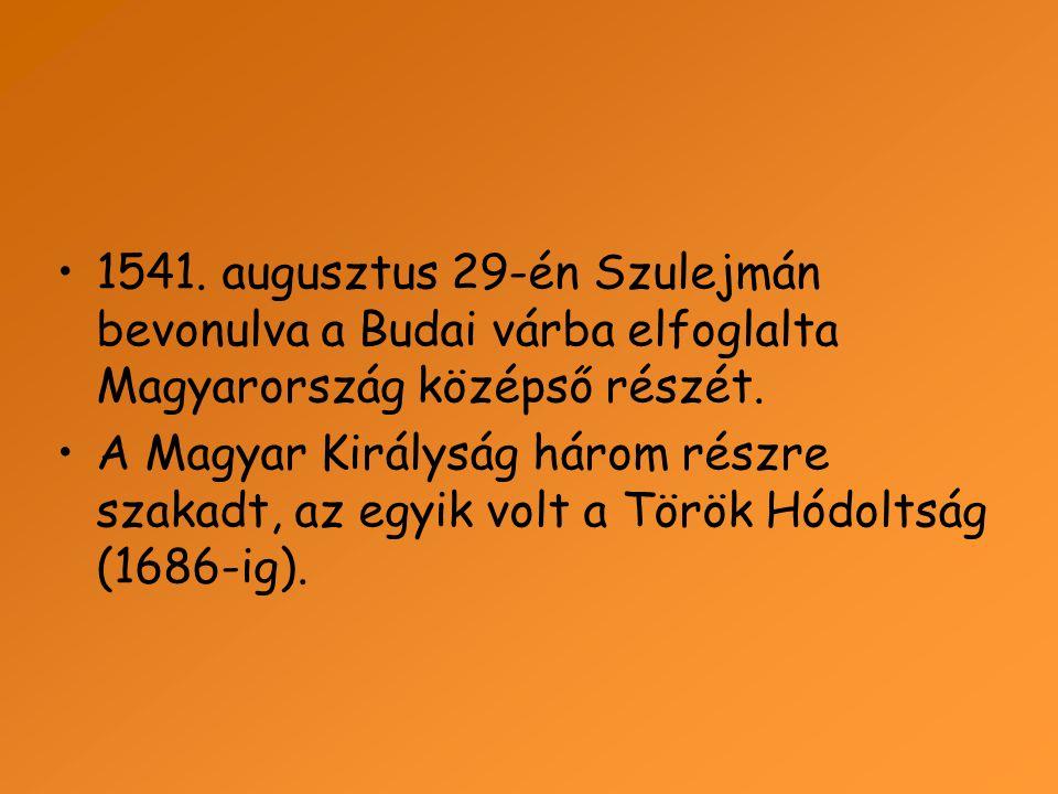1541. augusztus 29-én Szulejmán bevonulva a Budai várba elfoglalta Magyarország középső részét.