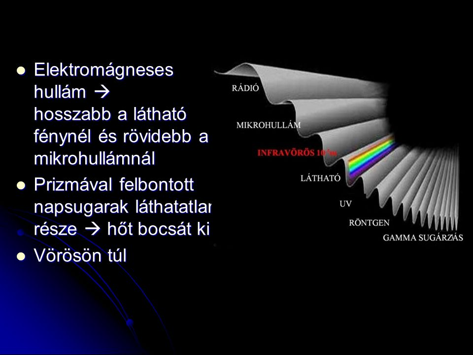 Elektromágneses hullám  hosszabb a látható fénynél és rövidebb a mikrohullámnál