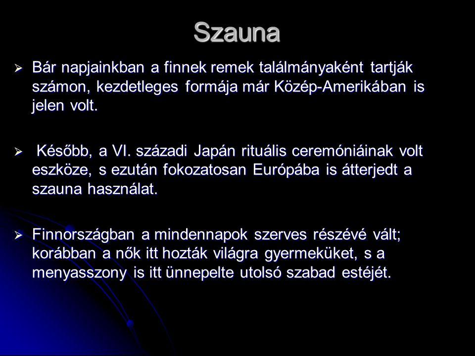 Szauna Bár napjainkban a finnek remek találmányaként tartják számon, kezdetleges formája már Közép-Amerikában is jelen volt.