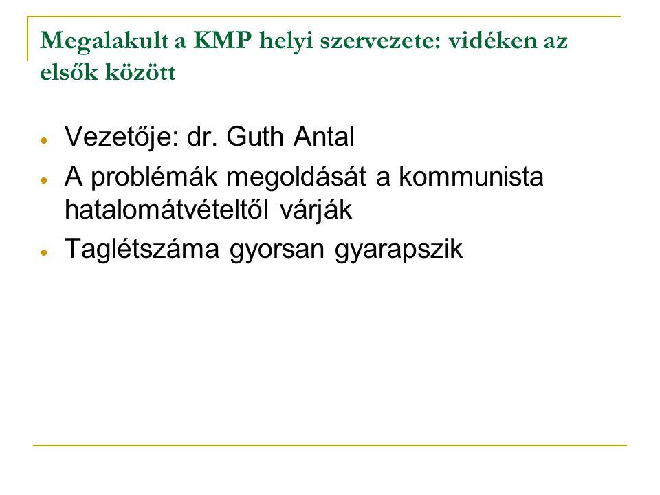 Megalakult a KMP helyi szervezete: vidéken az elsők között
