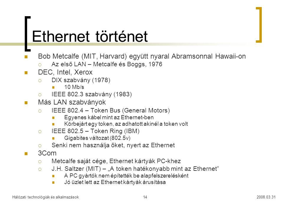 Ethernet történet Bob Metcalfe (MIT, Harvard) együtt nyaral Abramsonnal Hawaii-on. Az első LAN – Metcalfe és Boggs, 1976.