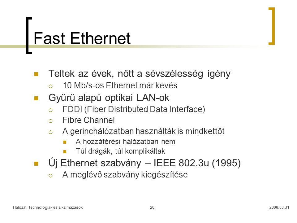 Fast Ethernet Teltek az évek, nőtt a sévszélesség igény