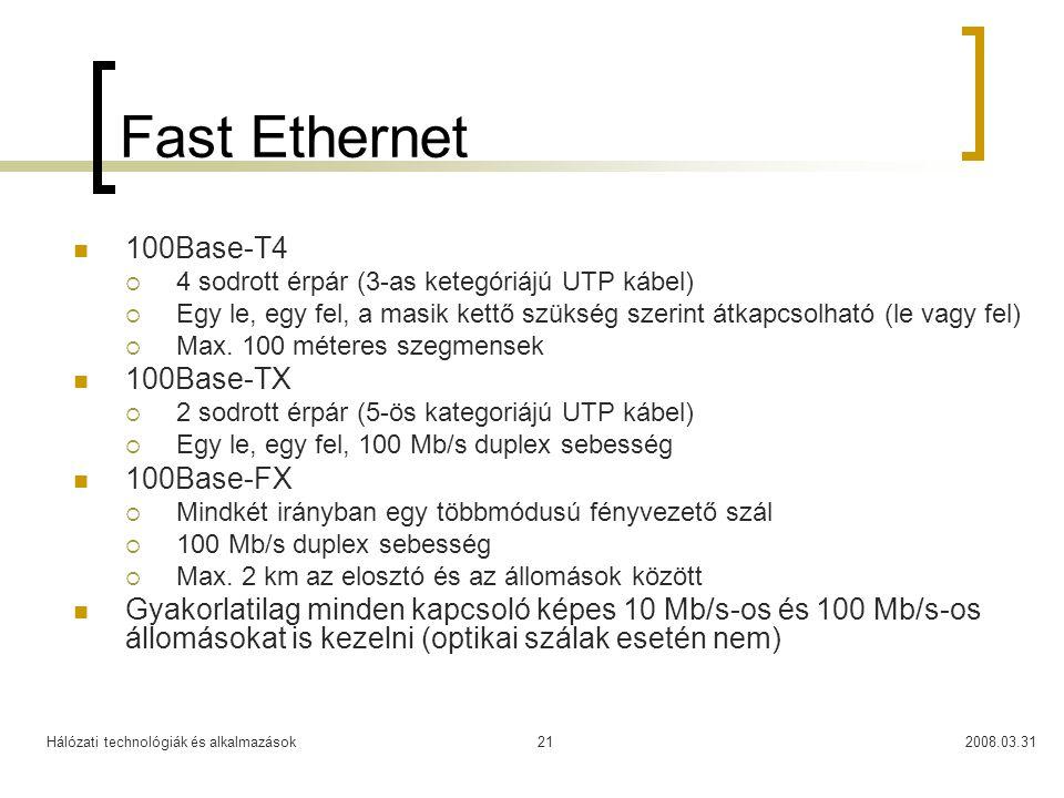 Fast Ethernet 100Base-T4 100Base-TX 100Base-FX