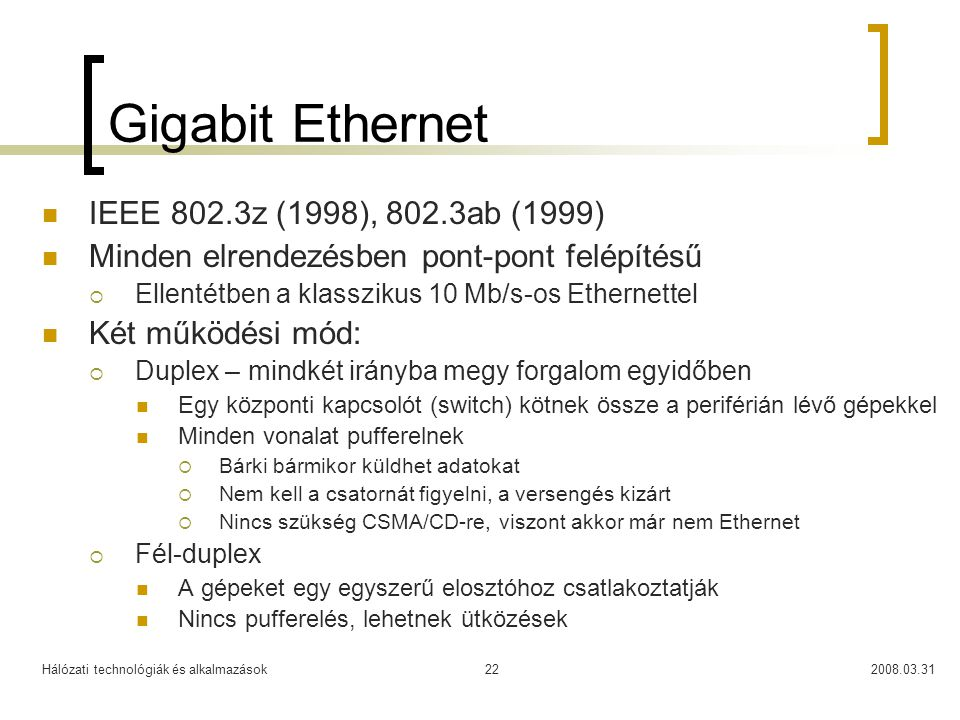 Gigabit Ethernet IEEE 802.3z (1998), 802.3ab (1999)
