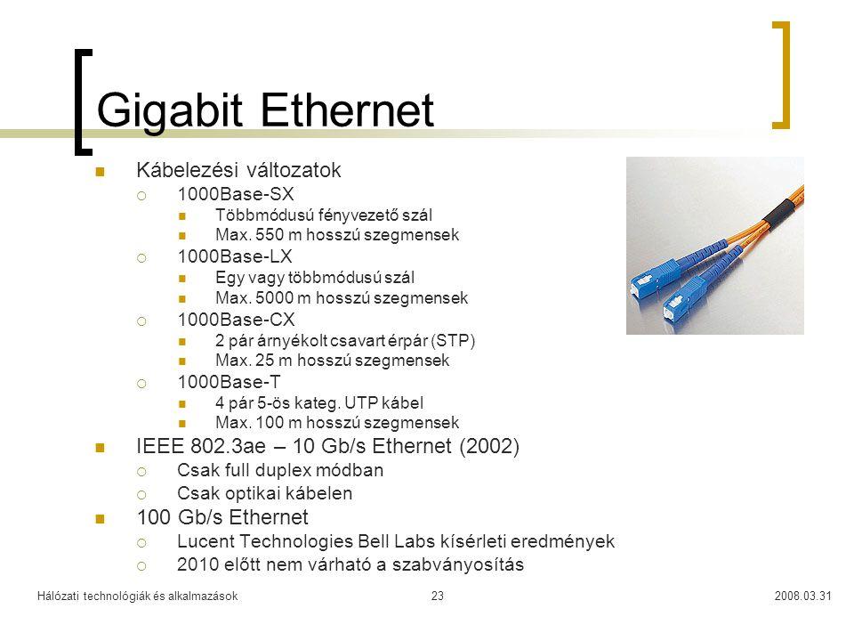Gigabit Ethernet Kábelezési változatok