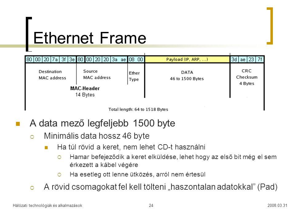 Ethernet Frame A data mező legfeljebb 1500 byte