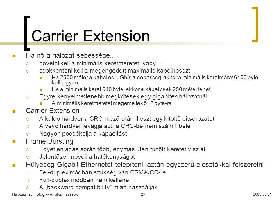 Carrier Extension Ha nő a hálózat sebessége... Carrier Extension