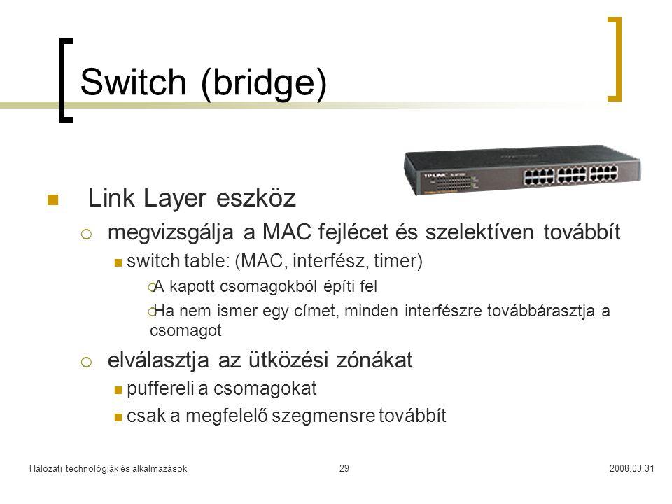 Switch (bridge) Link Layer eszköz