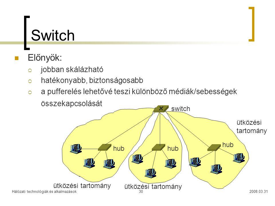 Switch Előnyök: jobban skálázható hatékonyabb, biztonságosabb