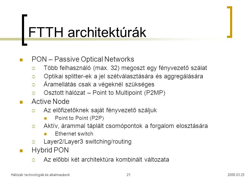 FTTH architektúrák PON – Passive Optical Networks Active Node