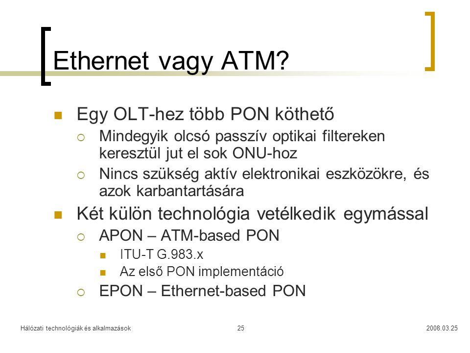 Ethernet vagy ATM Egy OLT-hez több PON köthető