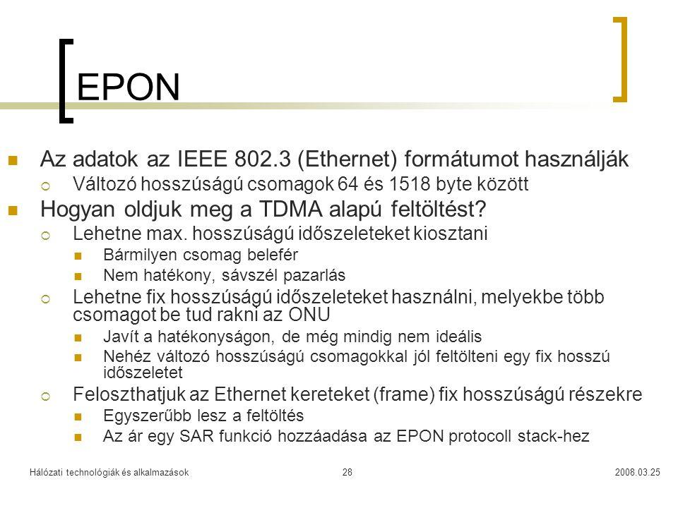 EPON Az adatok az IEEE 802.3 (Ethernet) formátumot használják